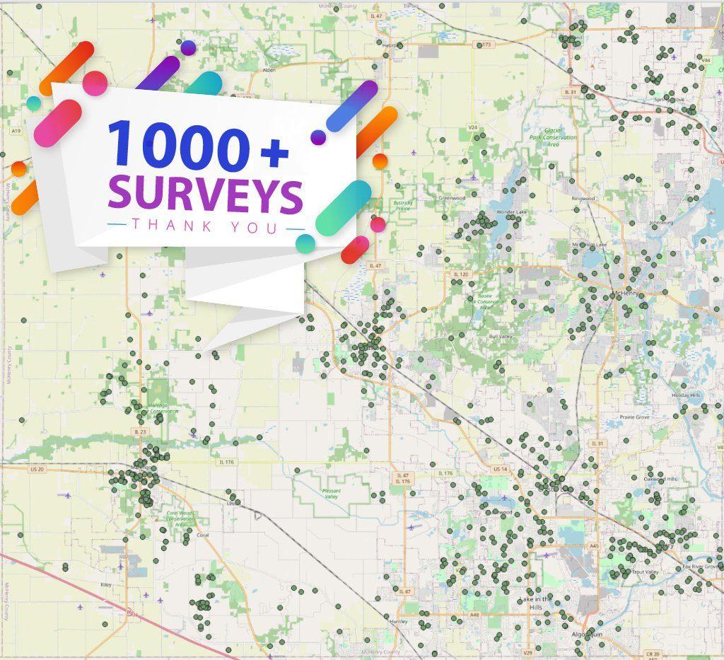 Map of 1000 Survey Responses